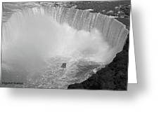 Horseshoe Falls Black And White Greeting Card