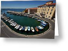 Horseshoe Pattern Of Moored Boats At The Inner Harbour Of Piran  Greeting Card