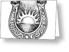 Horseshoe Sun And Sea Tattoo Greeting Card