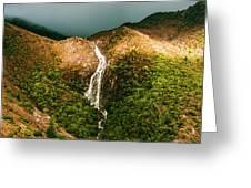 Horsetail Falls In Queenstown Tasmania Greeting Card