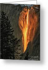 Horsetail Falls In Yosemite National Park Greeting Card