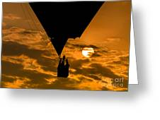 Hot Air Balloon Against Golden Sky Greeting Card