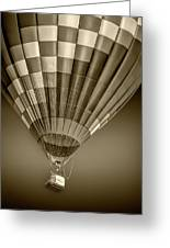 Hot Air Balloon And Bucket In Sepia Tone Greeting Card