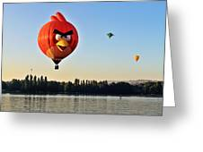 Hot Air Balloon Confronts Stand Up Paddleboarder Greeting Card