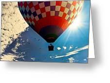 Hot Air Balloon Eclipsing The Sun Greeting Card