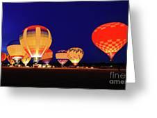 Hot Air Balloon Night Glow Greeting Card