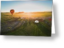 Hot Air Balloon Taking Off At Sunrise Greeting Card