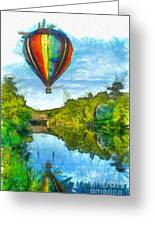 Hot Air Balloon Woodstock Vermont Pencil Greeting Card