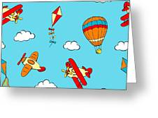 Hot Air Balloons And Airplanes Fly In The Sky Greeting Card