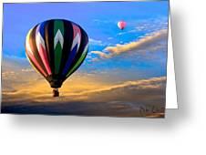 Hot Air Balloons At Sunset Greeting Card by Bob Orsillo
