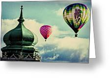 Hot Air Balloons Float Over Lewiston Maine Greeting Card