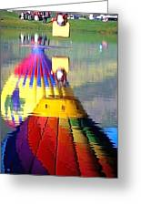 Hot Air Balloons In Reflection - Watercolor Greeting Card