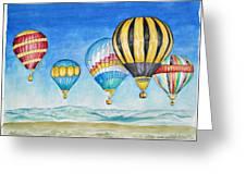 Hot Air Balloons Over Sandia Greeting Card
