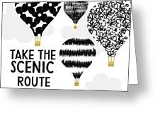 Hot Air Balloons Scenic Route- Art By Linda Woods Greeting Card