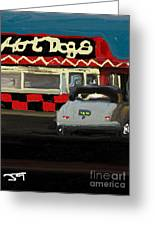 Hot Dogs And A Juke Box. Greeting Card
