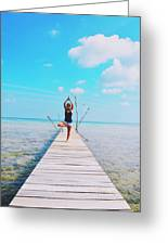 Hot Girl In White Jeans Doing Yoga On The Wooden Pier By The Sea Greeting Card