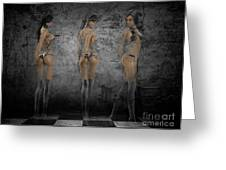 Hot Girls In Black Greeting Card