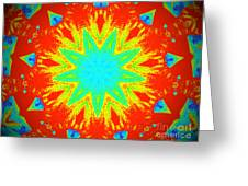 Hot Kaleidoscope Flower Greeting Card