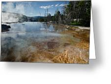 Hot Mammoth Springs Reflection Greeting Card