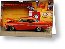 Hot Rod Bbq Greeting Card by Perry Webster