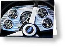 Hot Rod Ford Steering Wheel Greeting Card