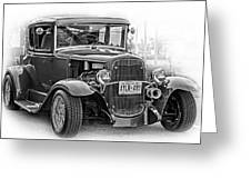 Hot Rod - Vignette Bw Greeting Card