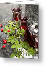 Hot Rosehip Tea In Glass Greeting Card