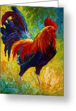 Hot Shot - Rooster Greeting Card by Marion Rose