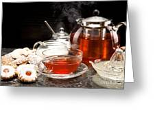 Hot Steaming Tea With Christmas Biscuits Greeting Card