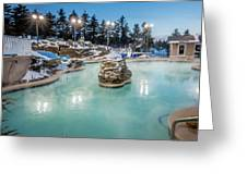 Hot Tubs And Ingound Heated Pool At A Mountain Village In Winter Greeting Card