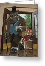 Hotel Rhino And Porter Fox Greeting Card by Martin Davey