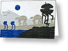 Hoth Star Wars Scene Panorama Made Using Vintage Recycled License Plates On White Wood Plank Greeting Card