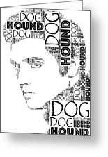 Hound Dog Elvis Wordart Greeting Card