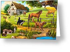 House Animals Greeting Card by Anne Wertheim