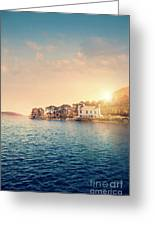 House By A Lake At Sunset Greeting Card