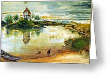 House By A Pond Greeting Card