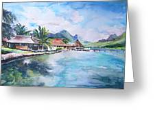 House By The Lagoon In French Polynesia Greeting Card