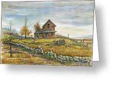 House By The Rock Wall Greeting Card