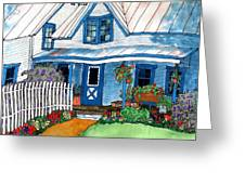 House Fence And Flowers Greeting Card