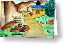 House In Hills Greeting Card