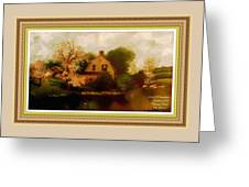House Near The River. L A With Decorative Ornate Printed Frame. Greeting Card