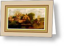 House Near The River. L B With Decorative Ornate Printed Frame. Greeting Card