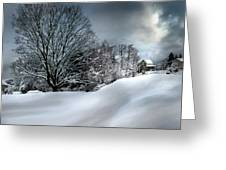 House On The Hill Winters In Vermont Greeting Card