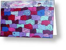 House On Top Of Patchwork Hill Greeting Card