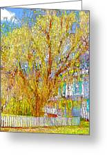 House With White Picket Fence Greeting Card