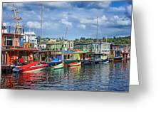 Houseboats - 3 - Lake Union - Seattle Greeting Card