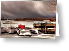 Houseboats In Winter Greeting Card