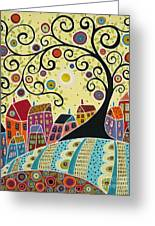 Houses And A Swirl Tree Greeting Card