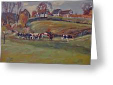 Houses And Cows In Schweiberg Greeting Card