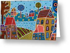 Houses And Trees By The Water Greeting Card